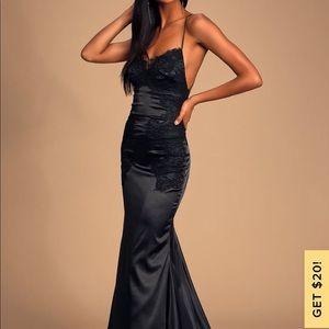 Lulu's Fantasy Come True Black Lace Satin Dress